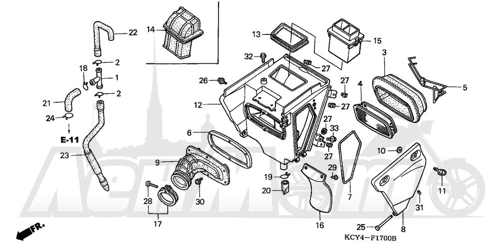 Запчасти для Мотоцикла Honda 1996 XR400R Раздел: AIR CLEANER (A)   очиститель воздуха (A)