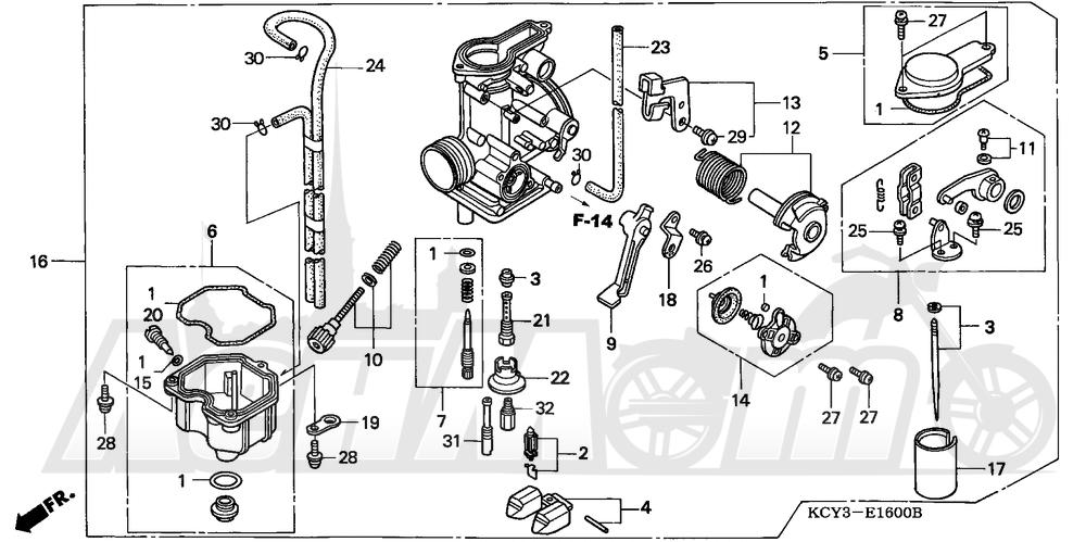 Запчасти для Мотоцикла Honda 1996 XR400R Раздел: CARBURETOR | карбюратор