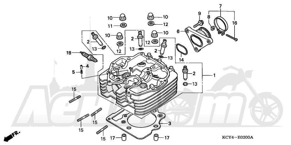 Запчасти для Мотоцикла Honda 1996 XR400R Раздел: CYLINDER HEAD | головка цилиндра