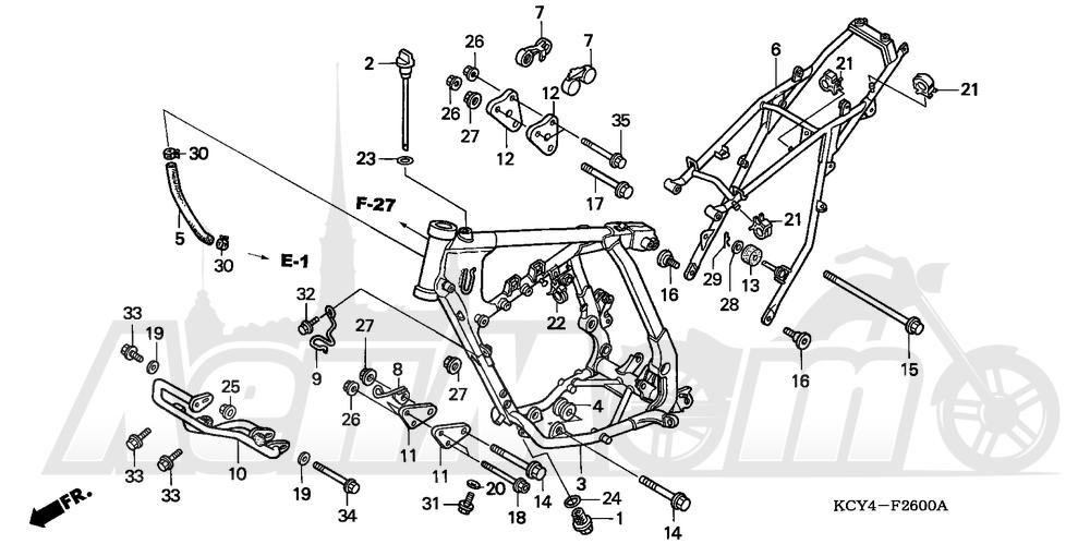 Запчасти для Мотоцикла Honda 1996 XR400R Раздел: FRAME | рама