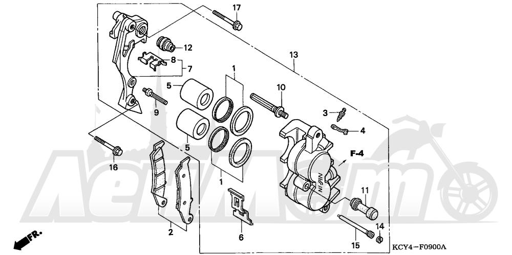 Запчасти для Мотоцикла Honda 1996 XR400R Раздел: FRONT BRAKE CALIPER | передний тормоз суппорт