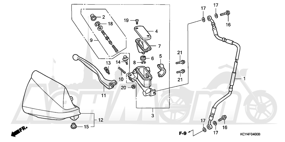 Запчасти для Мотоцикла Honda 1996 XR400R Раздел: FRONT BRAKE MASTER CYLINDER | передний тормоз главный цилиндр