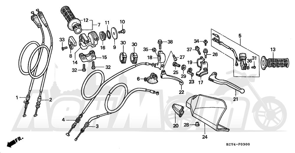 Запчасти для Мотоцикла Honda 1996 XR400R Раздел: HANDLE SWITCH | ручной переключатель