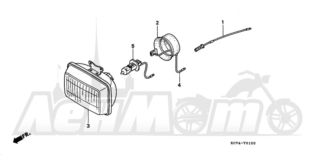 Запчасти для Мотоцикла Honda 1996 XR400R Раздел: HEADLIGHT UNIT (OPTIONAL) | передняя фара блок (опционально)