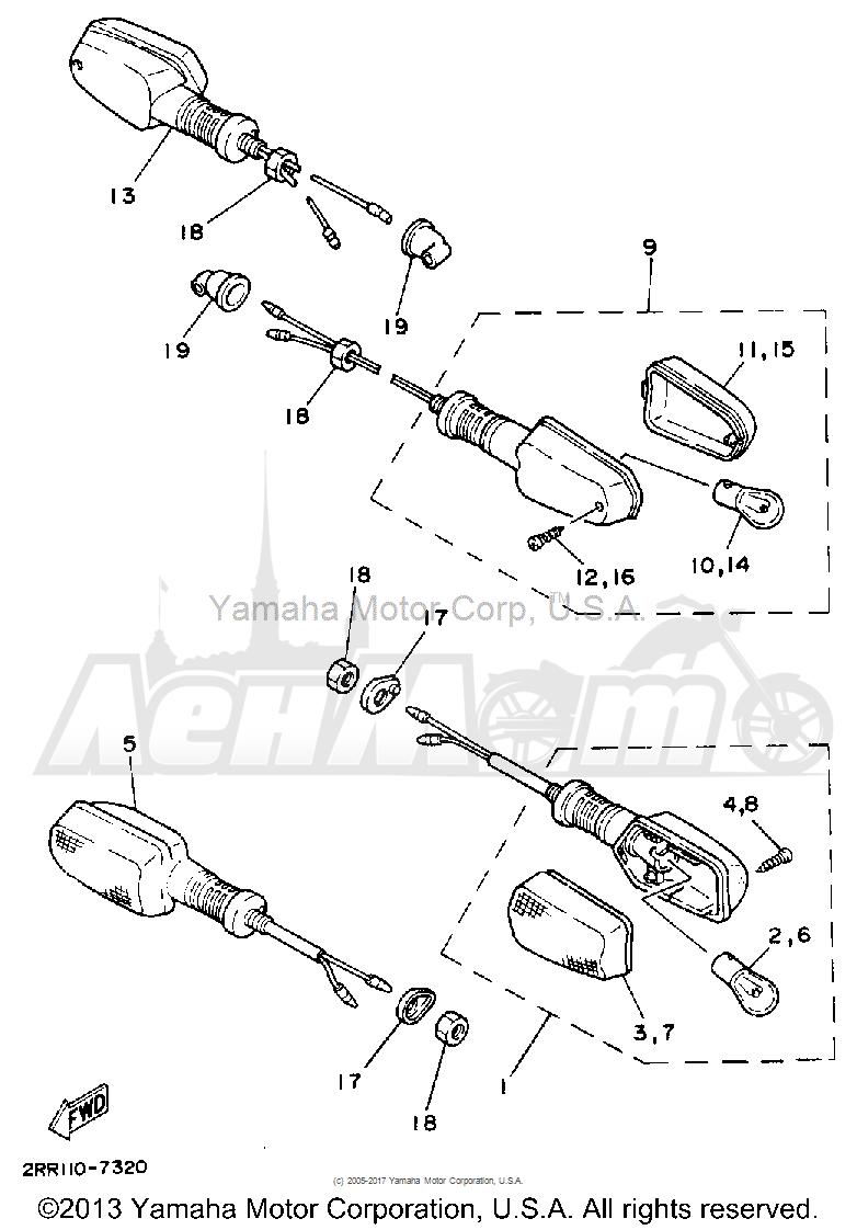 Запчасти для Мотоцикла Yamaha 1992 YSR50D Раздел: TURNSIGNAL | TURNSIGNAL
