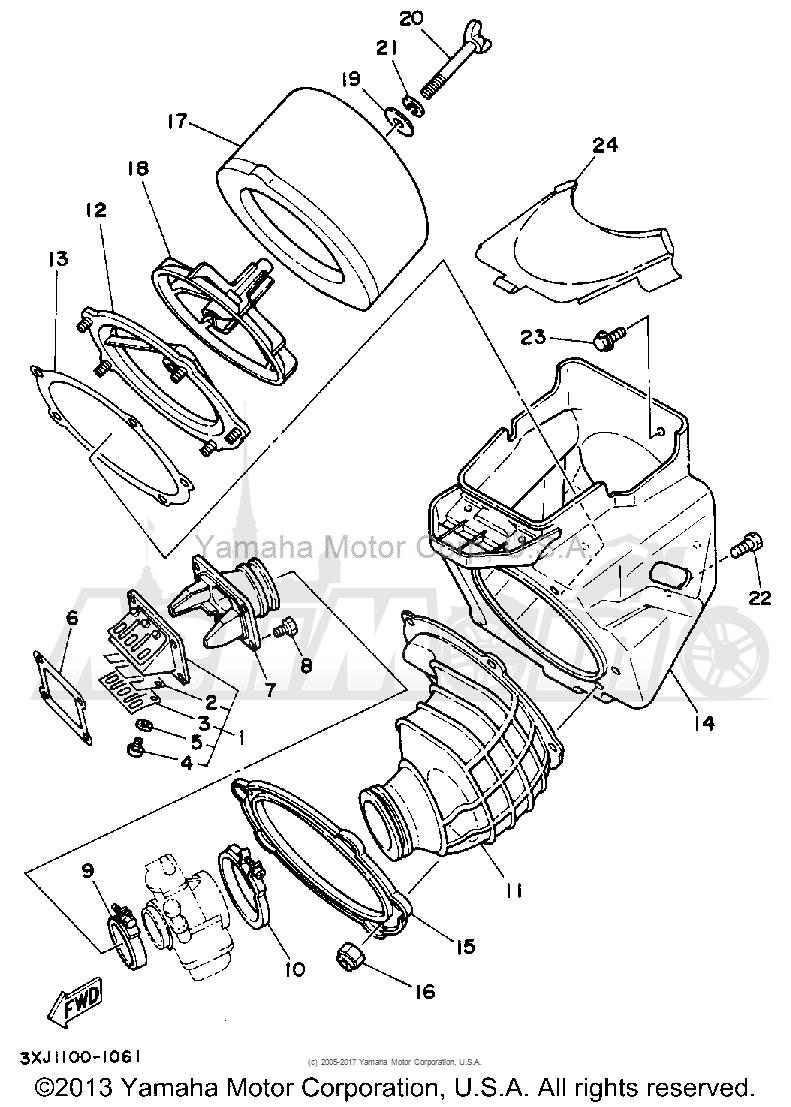 Запчасти для Мотоцикла Yamaha 1992 YZ125D1 Раздел: AIR FILTER | воздушный фильтр