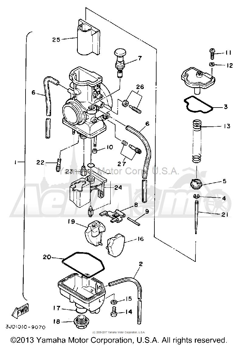 Запчасти для Мотоцикла Yamaha 1992 YZ125D1 Раздел: CARBURETOR | карбюратор