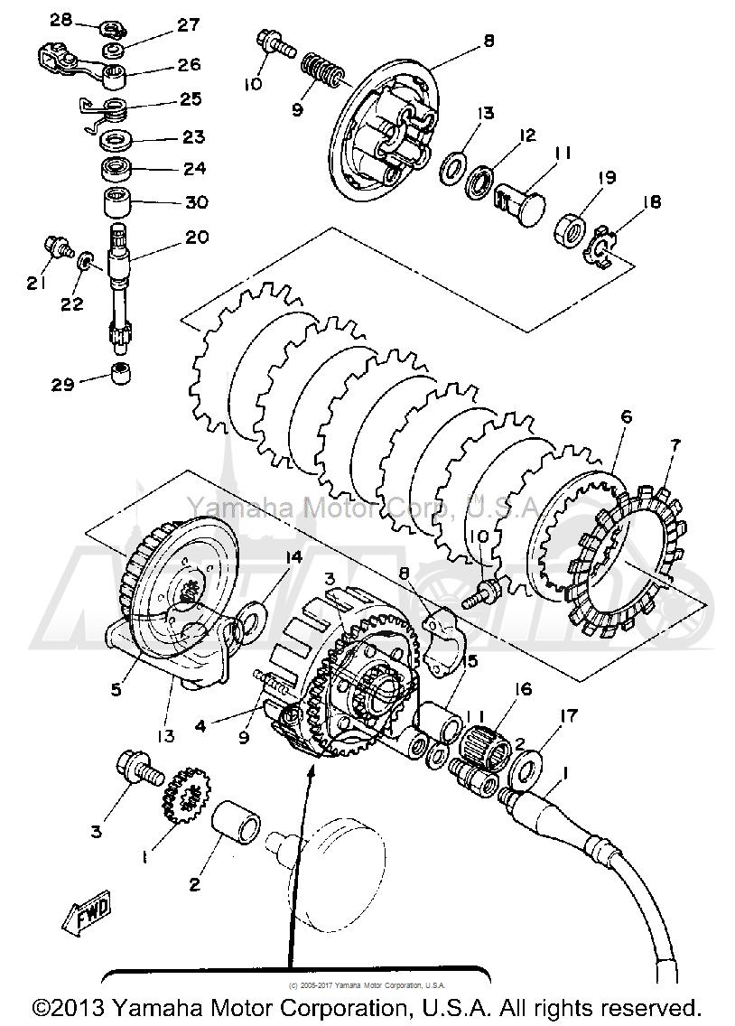 Запчасти для Мотоцикла Yamaha 1992 YZ125D1 Раздел: CLUTCH   сцепление