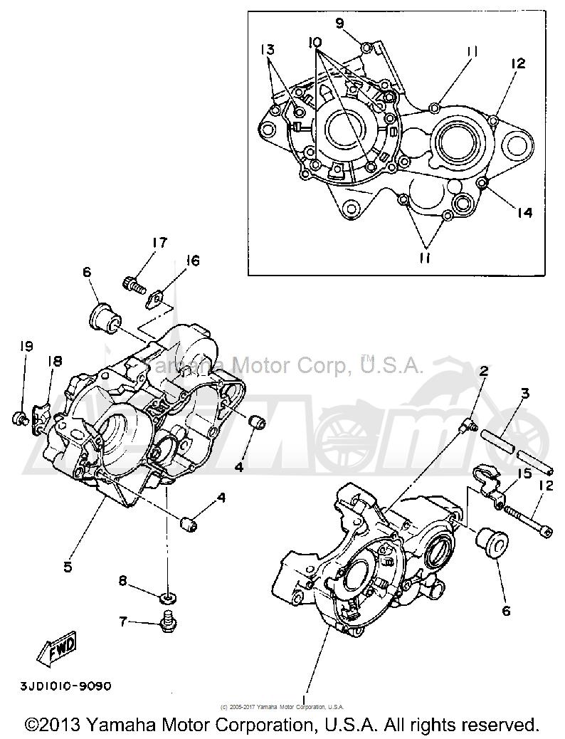 Запчасти для Мотоцикла Yamaha 1992 YZ125D1 Раздел: CRANKCASE | картер