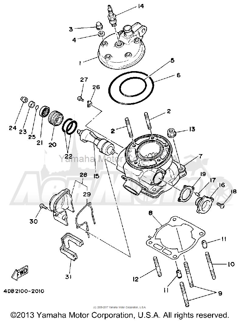 Запчасти для Мотоцикла Yamaha 1992 YZ125D1 Раздел: CYLINDER HEAD | головка цилиндра