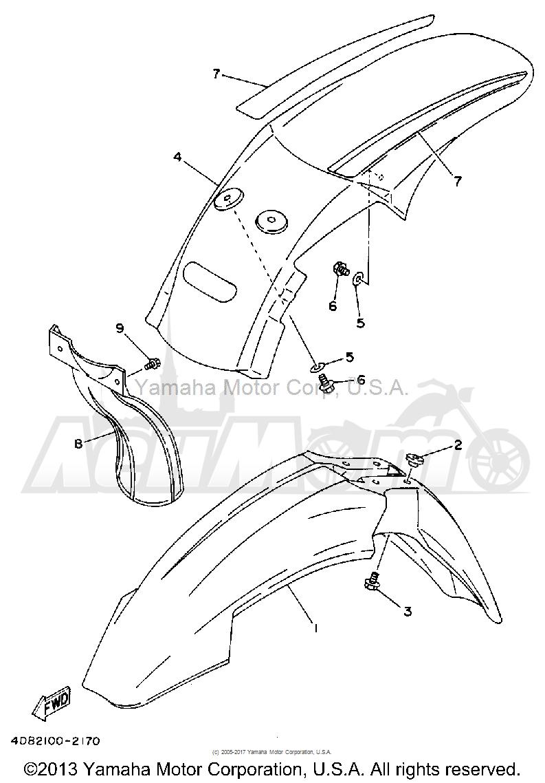 Запчасти для Мотоцикла Yamaha 1992 YZ125D1 Раздел: FENDER | крыло