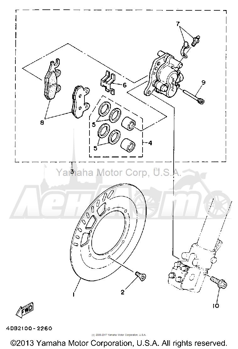 Запчасти для Мотоцикла Yamaha 1992 YZ125D1 Раздел: FRONT BRAKE CALIPER | передний тормоз суппорт
