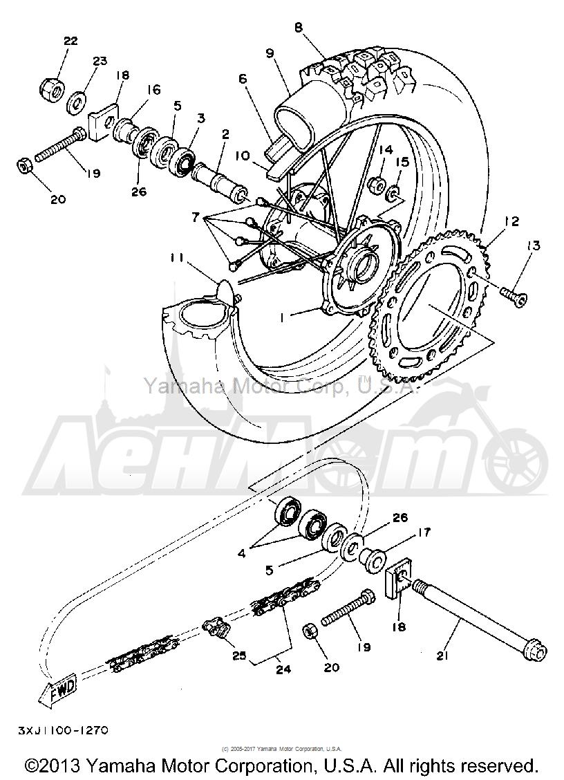 Запчасти для Мотоцикла Yamaha 1992 YZ125D1 Раздел: REAR WHEEL | заднее колесо