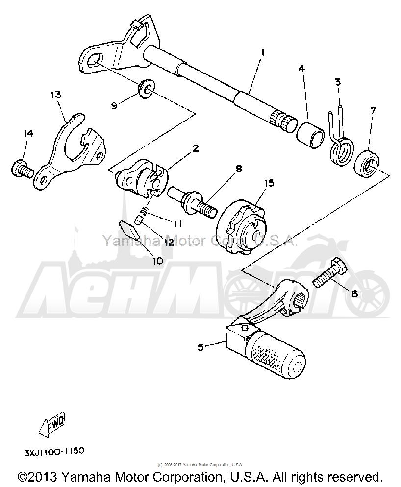 Запчасти для Мотоцикла Yamaha 1992 YZ125D1 Раздел: SHIFT SHAFT   переключение вал