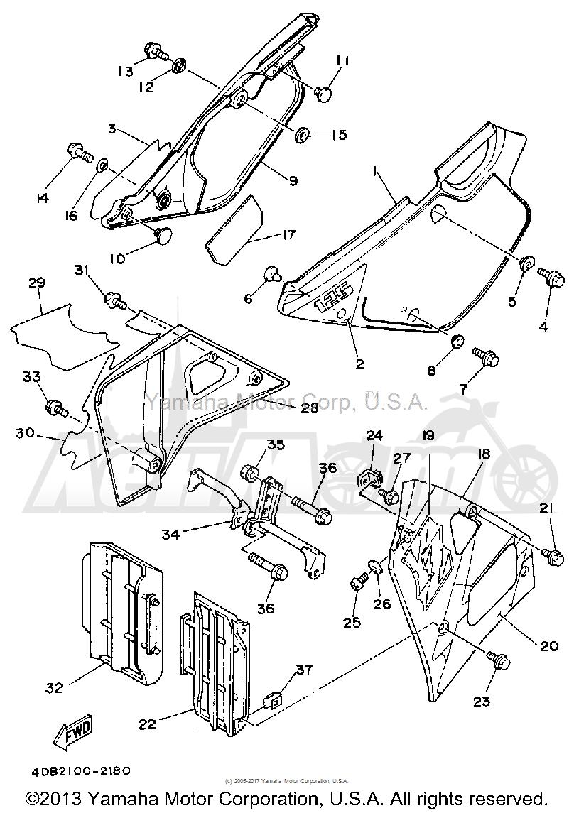 Запчасти для Мотоцикла Yamaha 1992 YZ125D1 Раздел: SIDE COVER | боковая сторона крышка