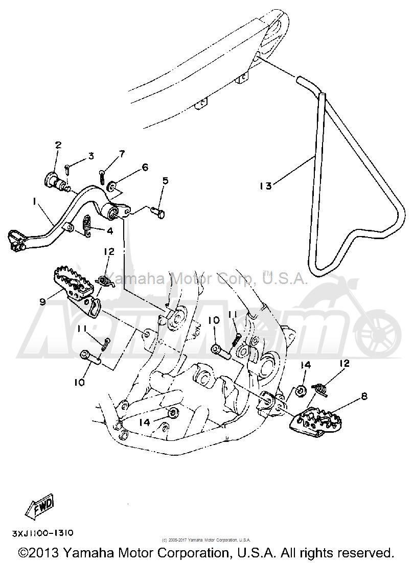 Запчасти для Мотоцикла Yamaha 1992 YZ125D1 Раздел: STAND-FOOTREST | подставка подножка