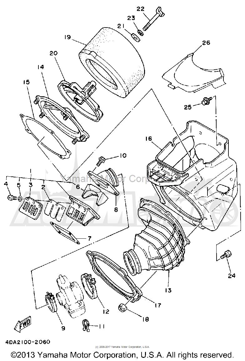 Запчасти для Мотоцикла Yamaha 1992 YZ250D1 Раздел: AIR FILTER | воздушный фильтр