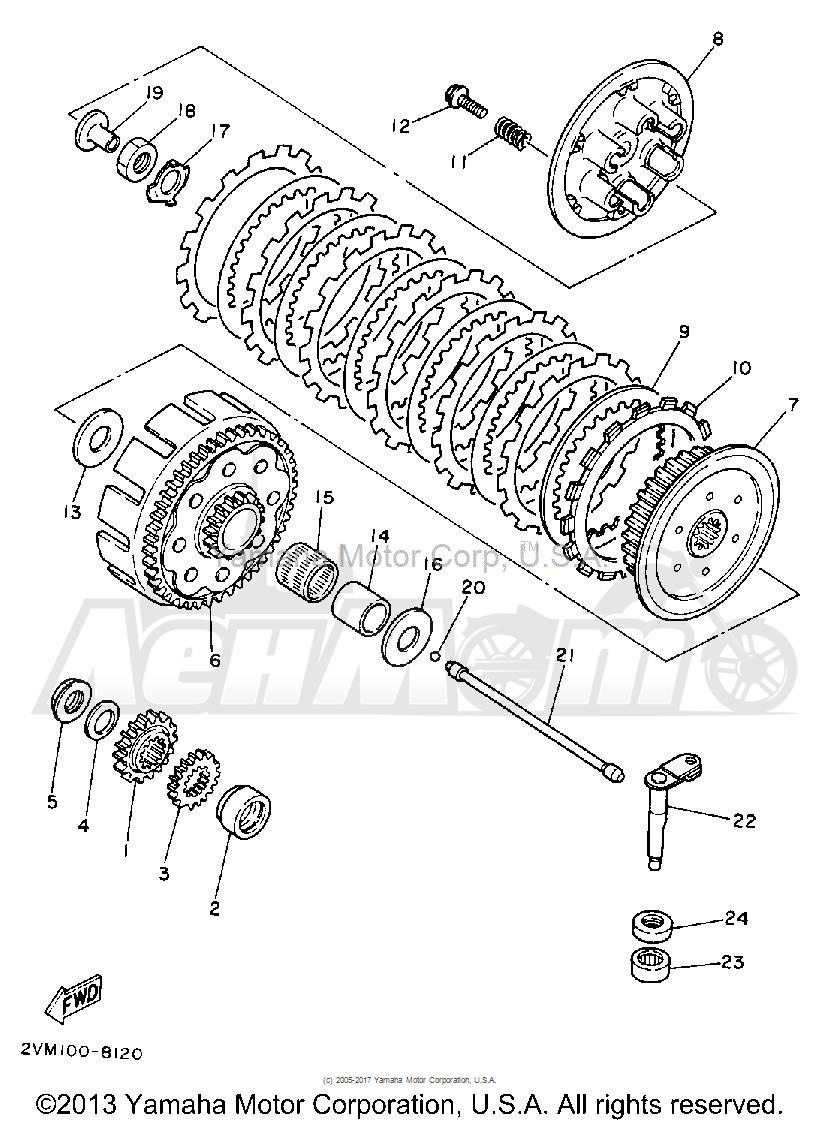 Запчасти для Мотоцикла Yamaha 1992 YZ250D1 Раздел: CLUTCH | сцепление