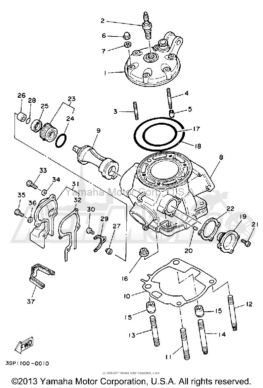Запчасти для Мотоцикла Yamaha 1992 YZ250D1 Раздел: CYLINDER HEAD | головка цилиндра