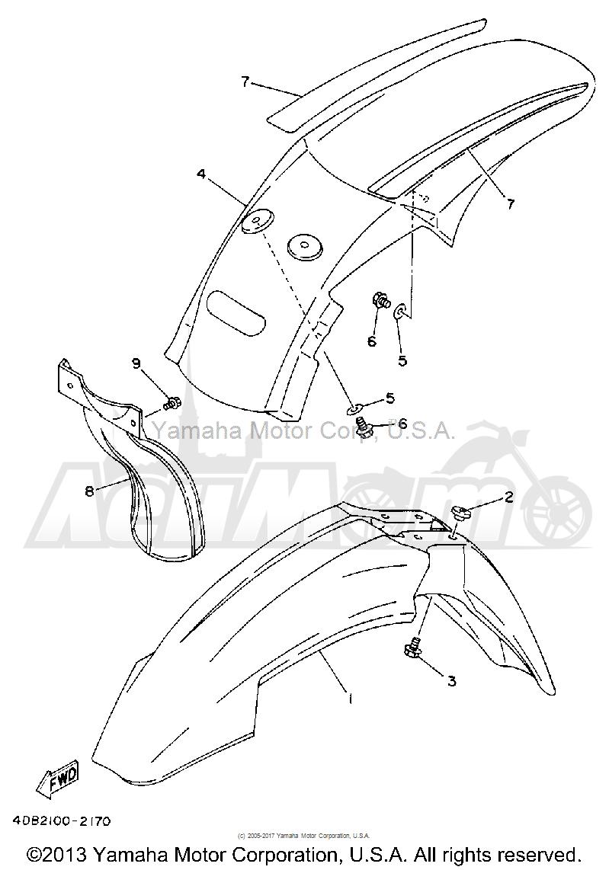 Запчасти для Мотоцикла Yamaha 1992 YZ250D1 Раздел: FENDER   крыло