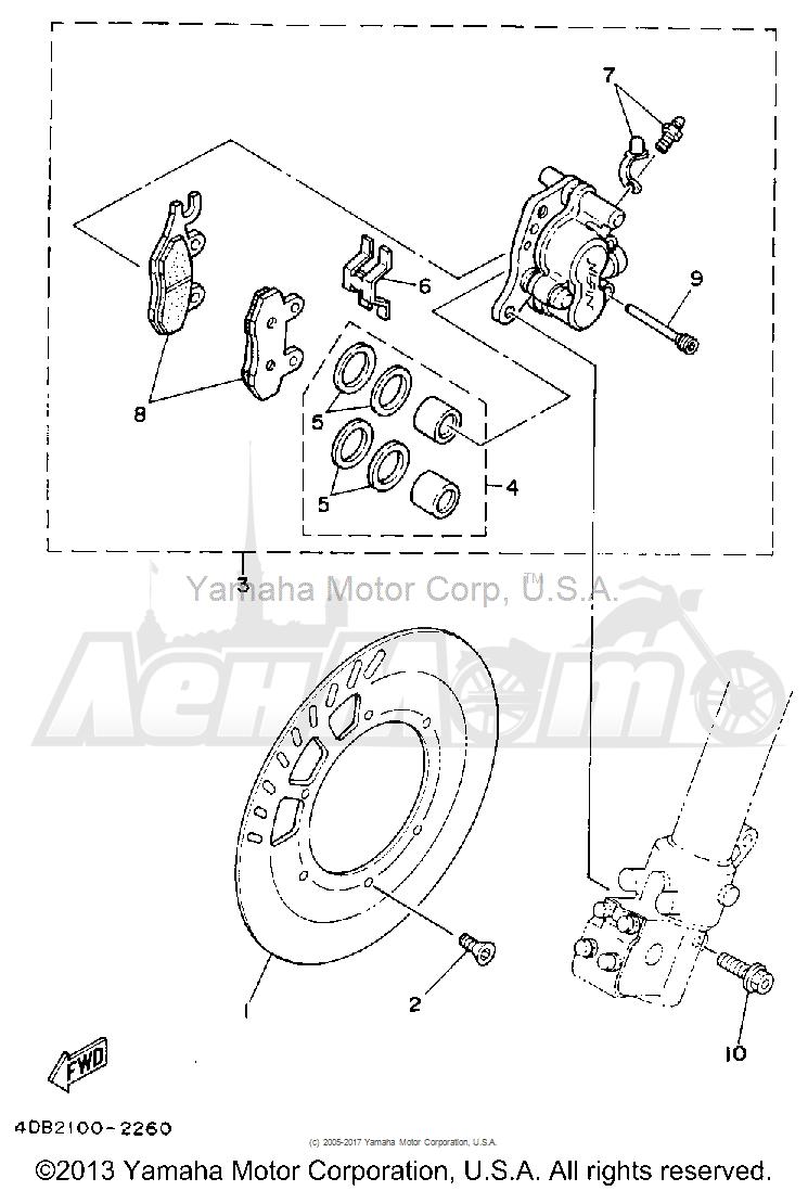 Запчасти для Мотоцикла Yamaha 1992 YZ250D1 Раздел: FRONT BRAKE CALIPER | передний тормоз суппорт