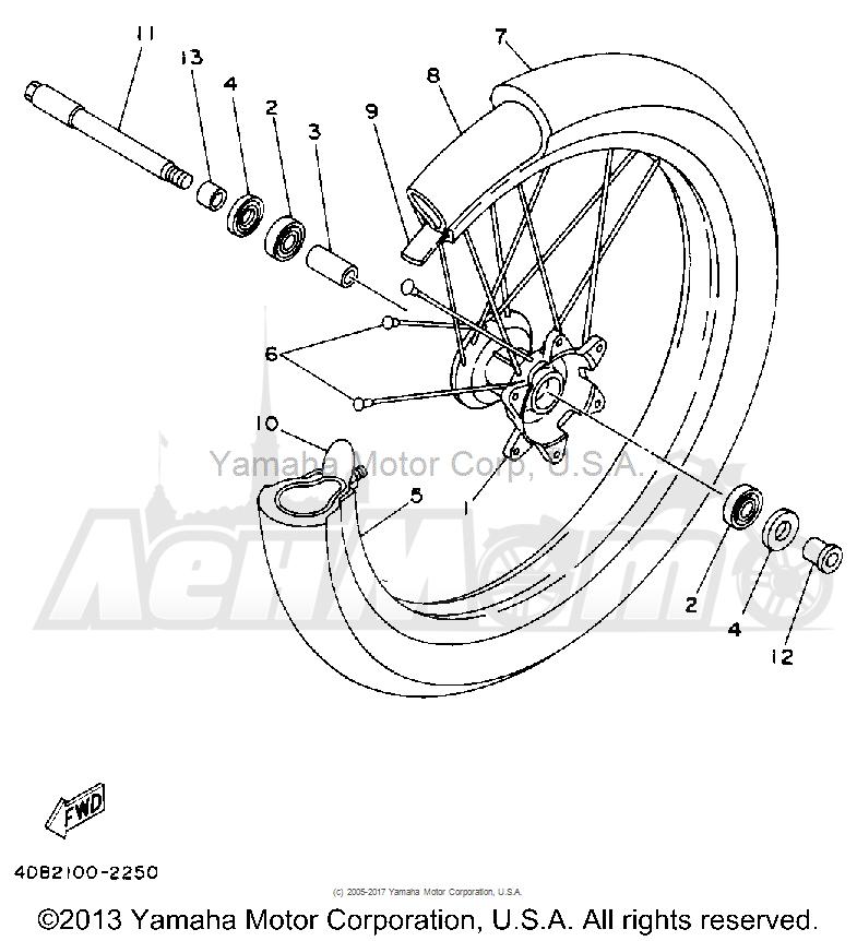 Запчасти для Мотоцикла Yamaha 1992 YZ250D1 Раздел: FRONT WHEEL   переднее колесо