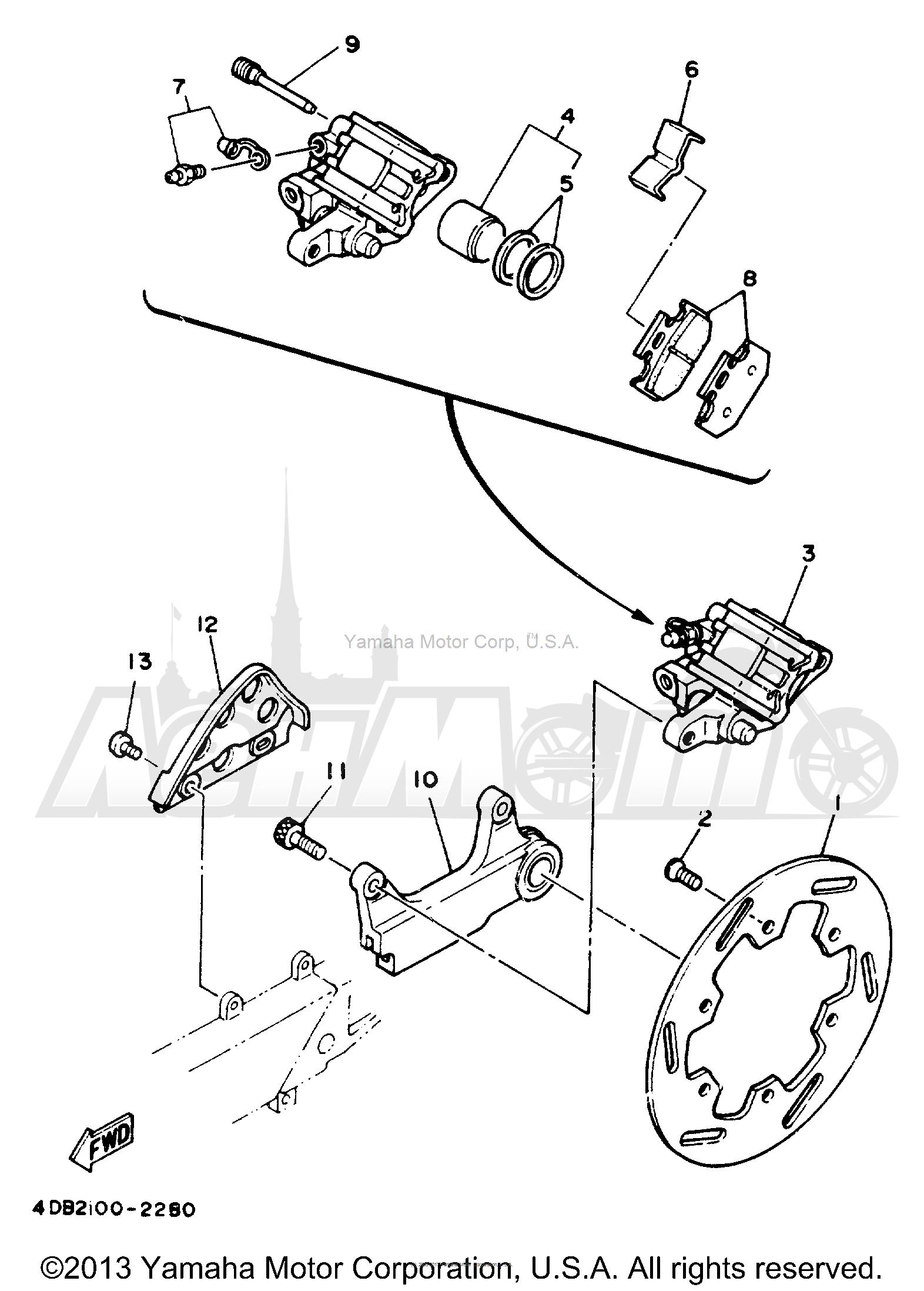Запчасти для Мотоцикла Yamaha 1992 YZ250D1 Раздел: REAR BRAKE CALIPER   задний тормоз суппорт