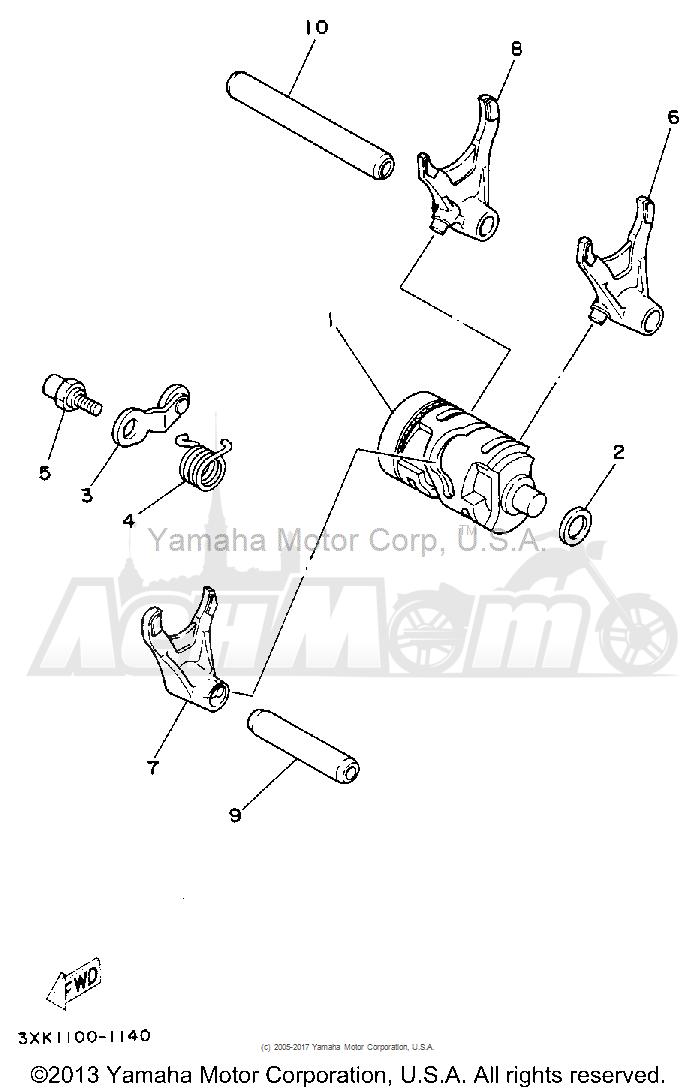 Запчасти для Мотоцикла Yamaha 1992 YZ250D1 Раздел: SHIFT CAM-FORK | переключение кулачок вилка
