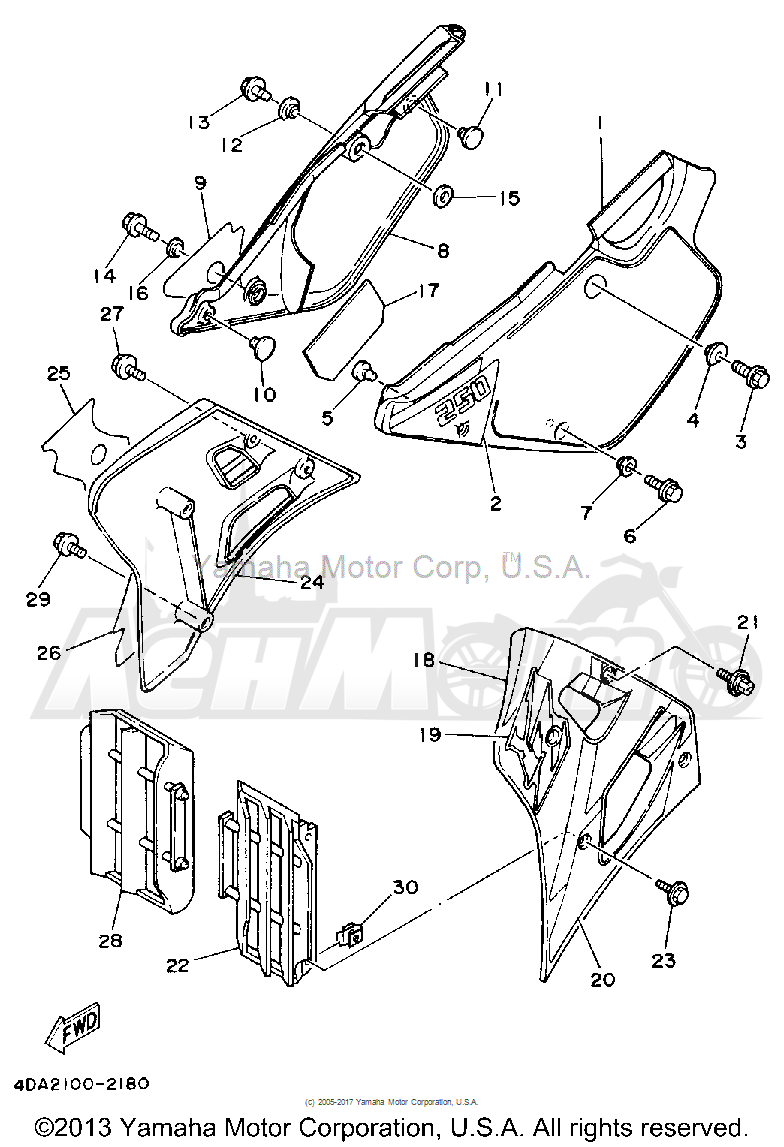 Запчасти для Мотоцикла Yamaha 1992 YZ250D1 Раздел: SIDE COVER | боковая сторона крышка
