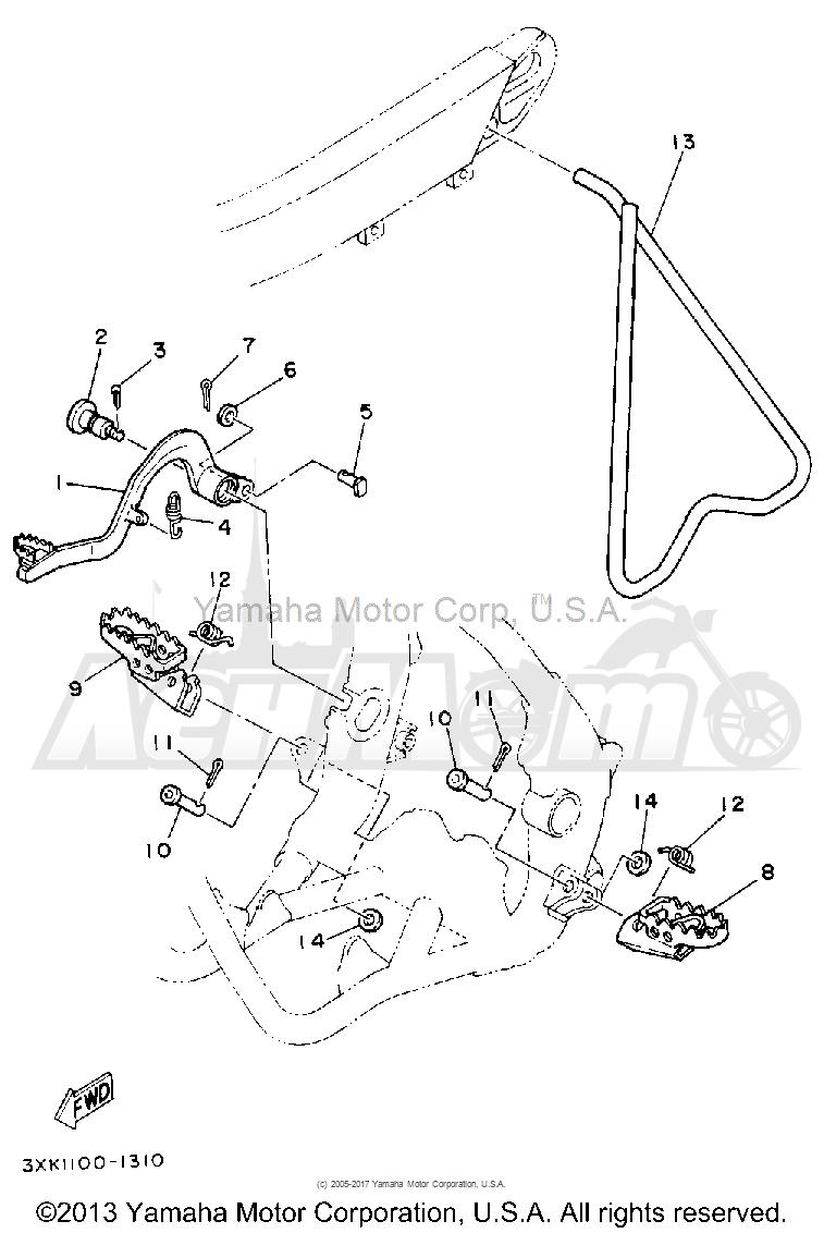 Запчасти для Мотоцикла Yamaha 1992 YZ250D1 Раздел: STAND-FOOTREST | подставка подножка