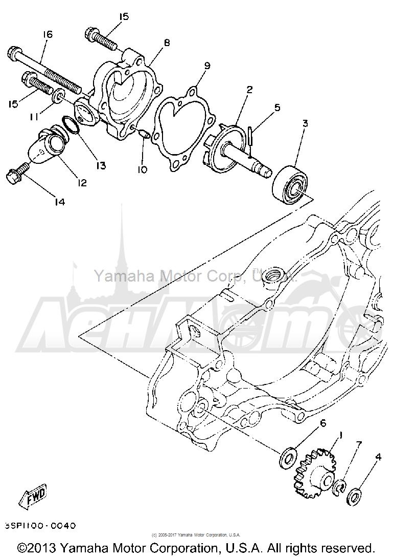 Запчасти для Мотоцикла Yamaha 1992 YZ250D1 Раздел: WATER PUMP | водяная помпа