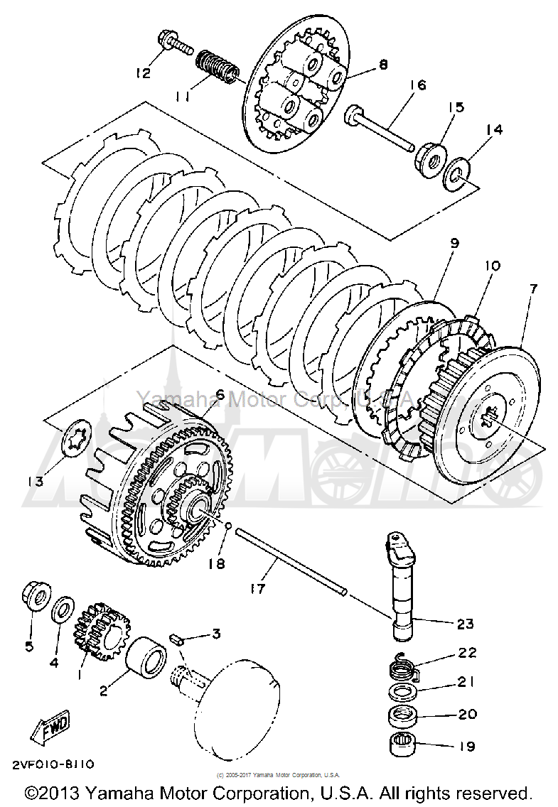 Запчасти для Мотоцикла Yamaha 1992 YZ80D Раздел: CLUTCH | сцепление
