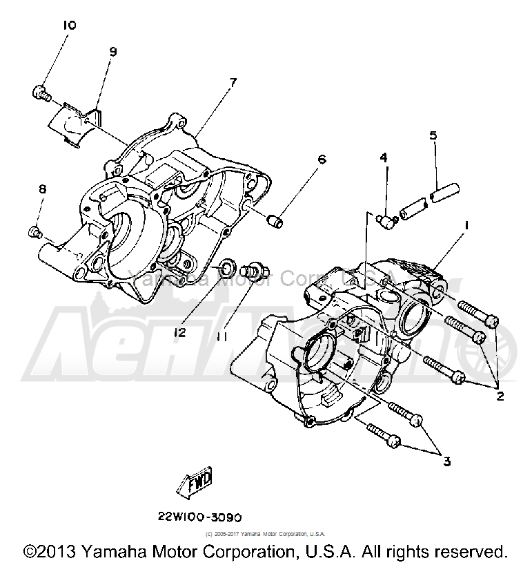 Запчасти для Мотоцикла Yamaha 1992 YZ80D Раздел: CRANKCASE | картер
