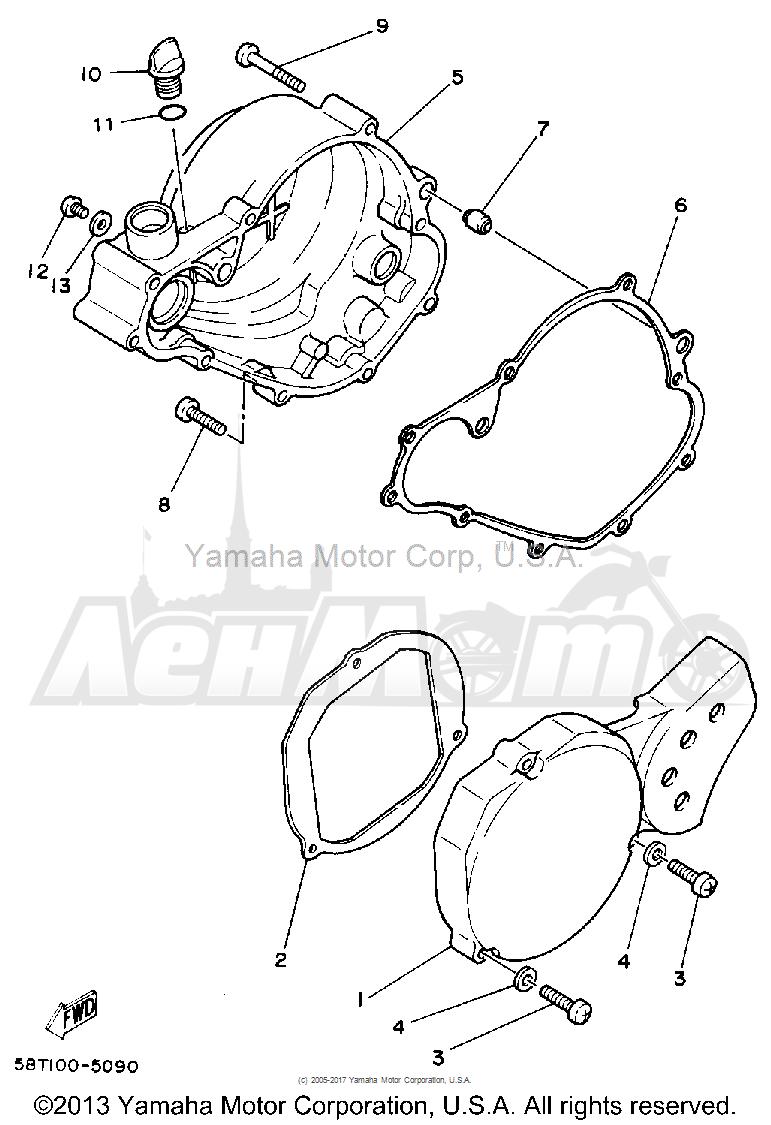 Запчасти для Мотоцикла Yamaha 1992 YZ80D Раздел: CRANKCASE COVER 1   крышка картера 1