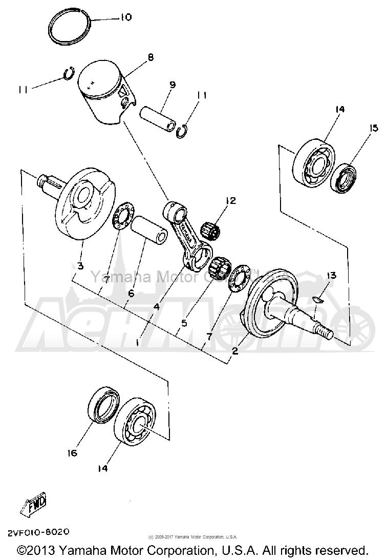 Запчасти для Мотоцикла Yamaha 1992 YZ80D Раздел: CRANKSHAFT - PISTON | коленвал поршень