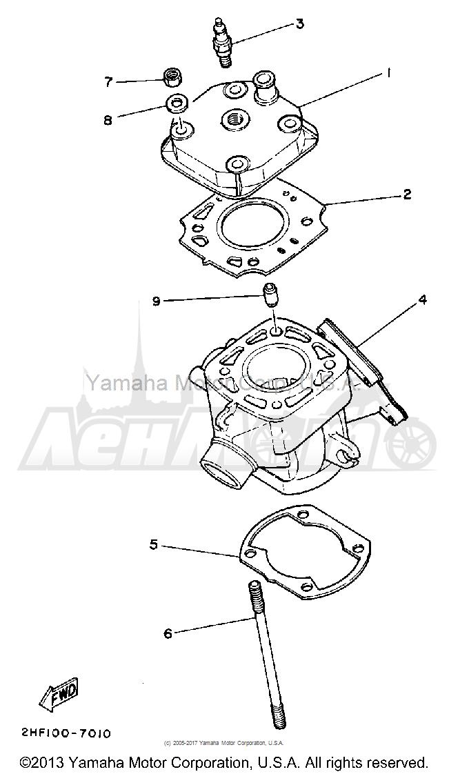 Запчасти для Мотоцикла Yamaha 1992 YZ80D Раздел: CYLINDER   цилиндр