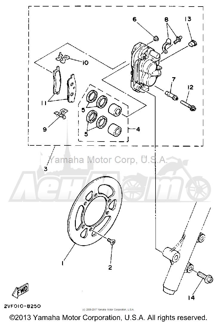 Запчасти для Мотоцикла Yamaha 1992 YZ80D Раздел: FRONT BRAKE CALIPER | передний тормоз суппорт