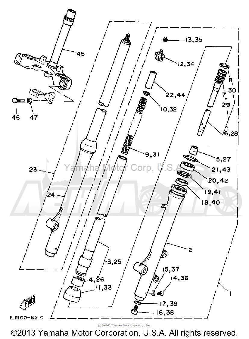Запчасти для Мотоцикла Yamaha 1992 YZ80D Раздел: FRONT FORK | передняя вилка