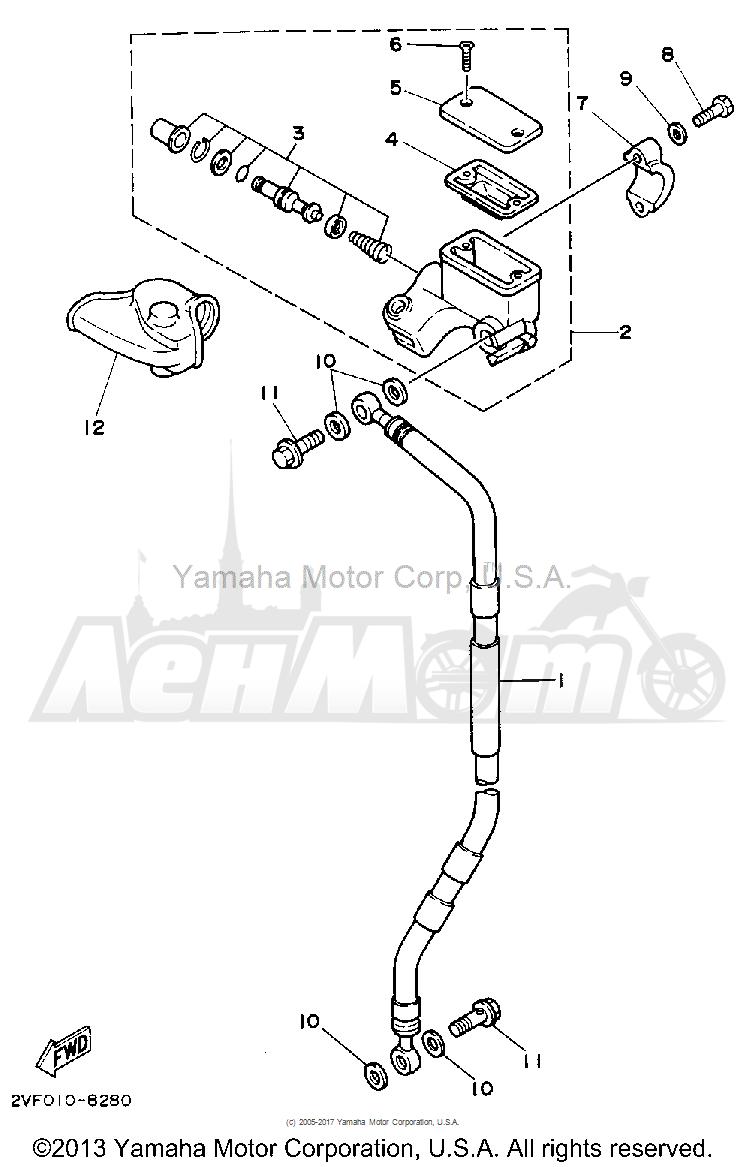 Запчасти для Мотоцикла Yamaha 1992 YZ80D Раздел: FRONT MASTER CYLINDER   перед главный цилиндр