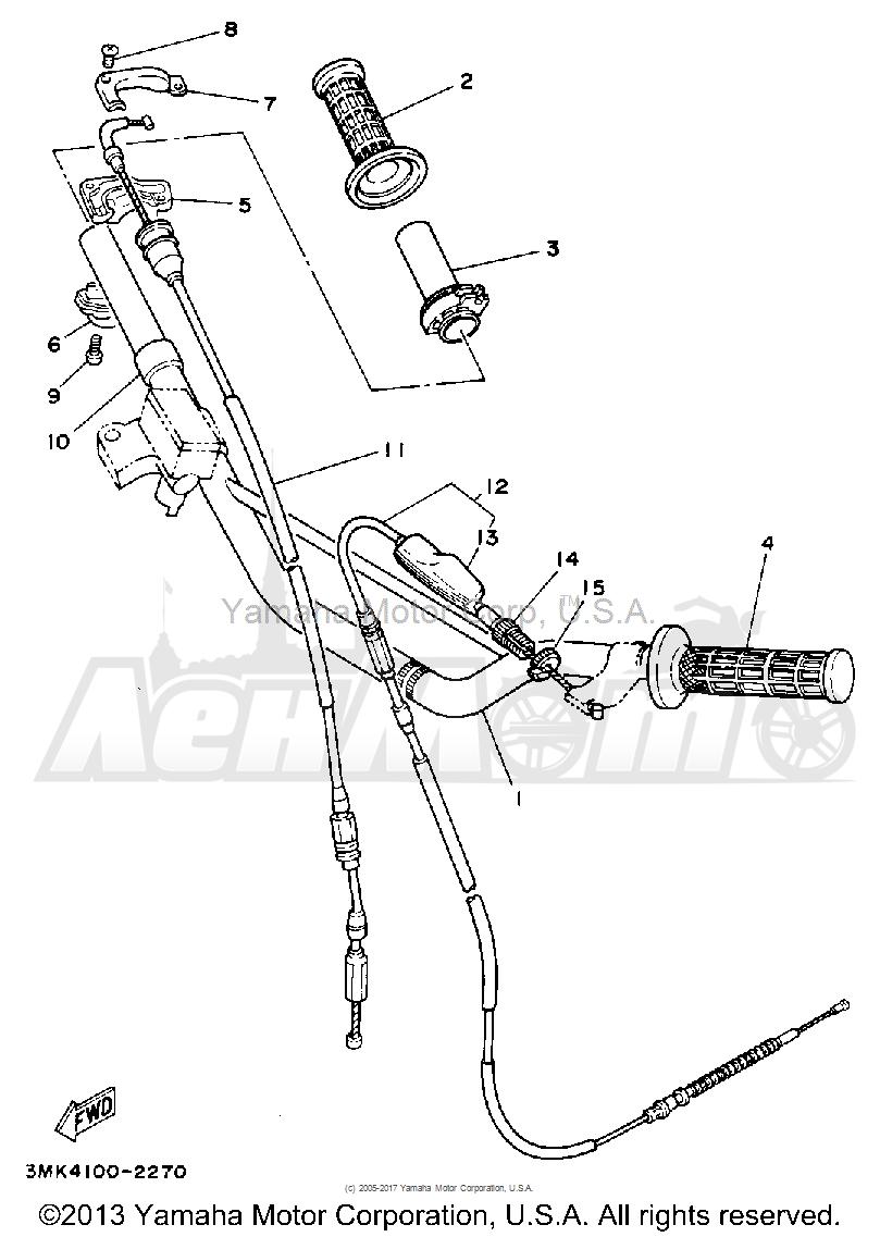 Запчасти для Мотоцикла Yamaha 1992 YZ80D Раздел: HANDLEBAR - CABLE | руль трос, кабель