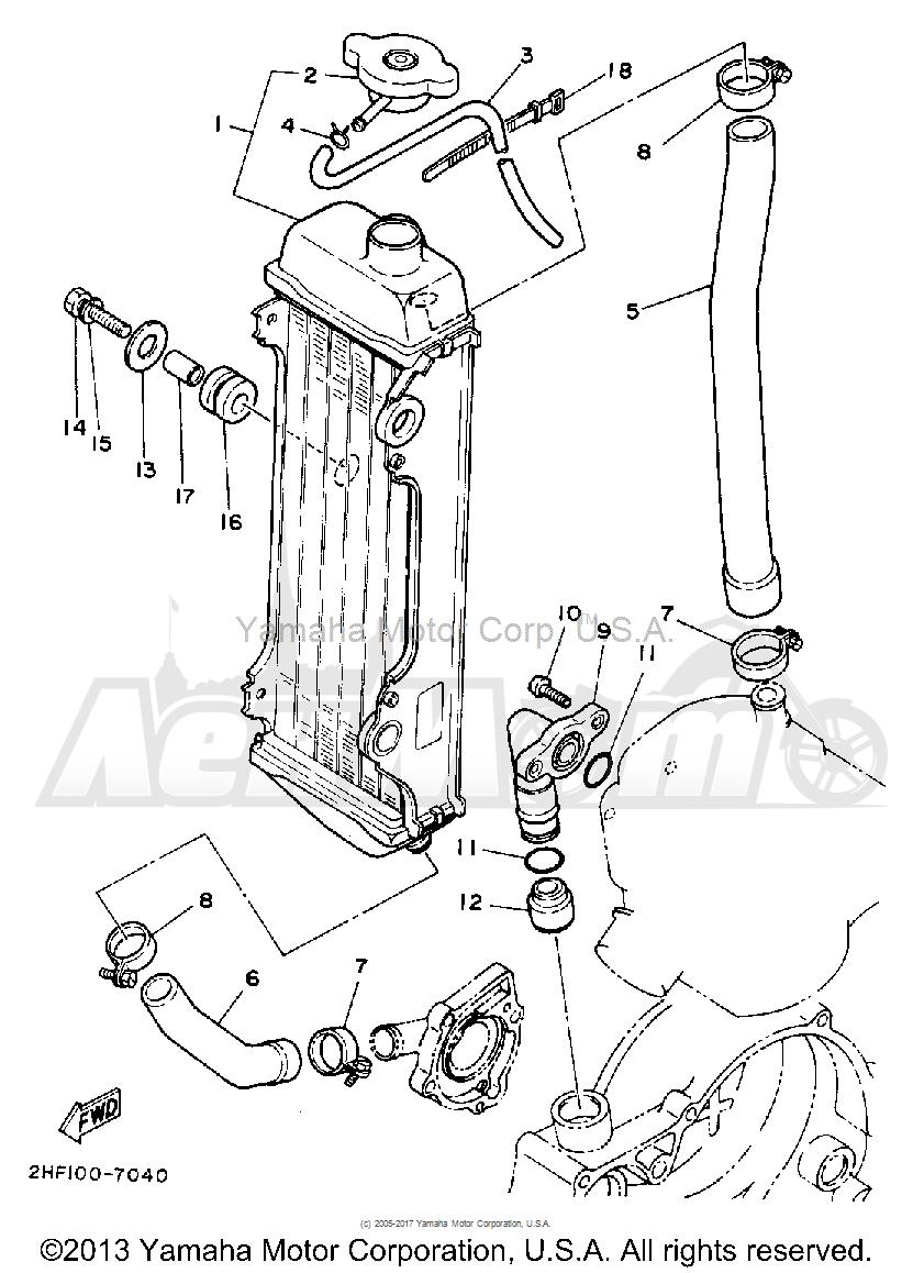 Запчасти для Мотоцикла Yamaha 1992 YZ80D Раздел: RADIATOR - HOSE   радиатор шланг
