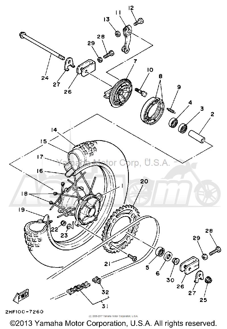 Запчасти для Мотоцикла Yamaha 1992 YZ80D Раздел: REAR WHEEL | заднее колесо