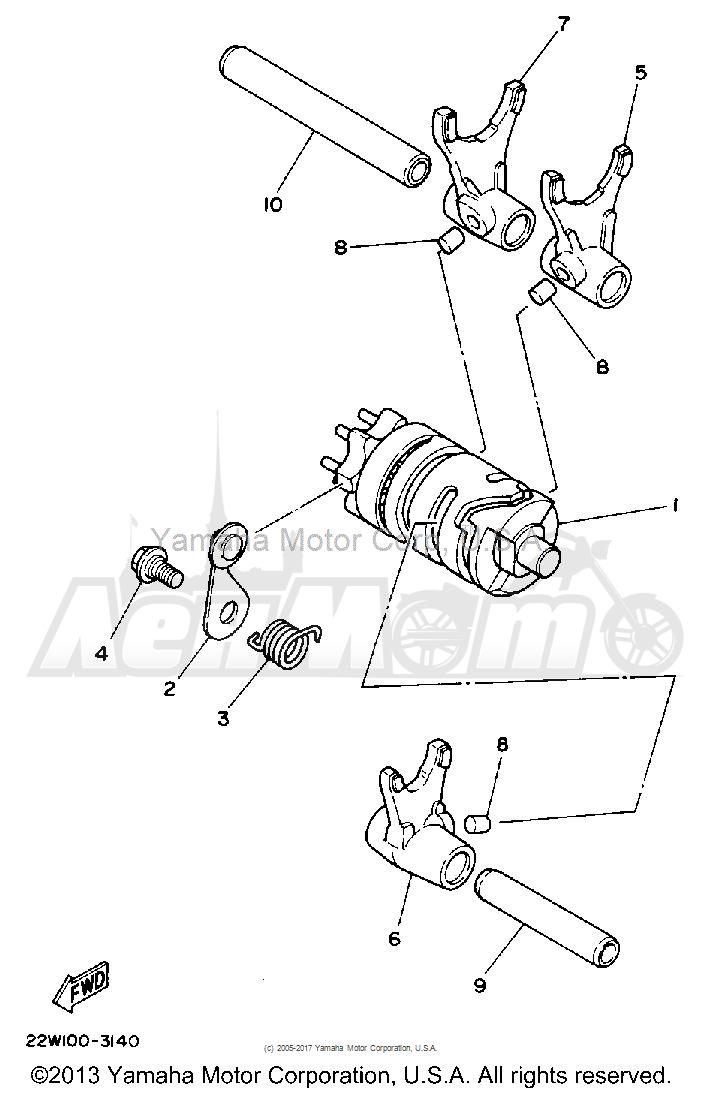 Запчасти для Мотоцикла Yamaha 1992 YZ80D Раздел: SHIFT CAM - FORK | переключение кулачок вилка