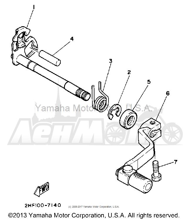 Запчасти для Мотоцикла Yamaha 1992 YZ80D Раздел: SHIFT SHAFT | переключение вал