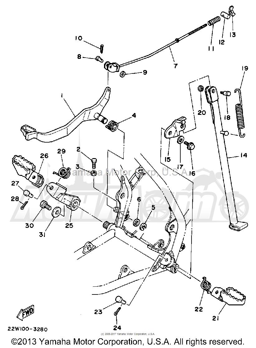 Запчасти для Мотоцикла Yamaha 1992 YZ80D Раздел: STAND - FOOTREST | подставка подножка