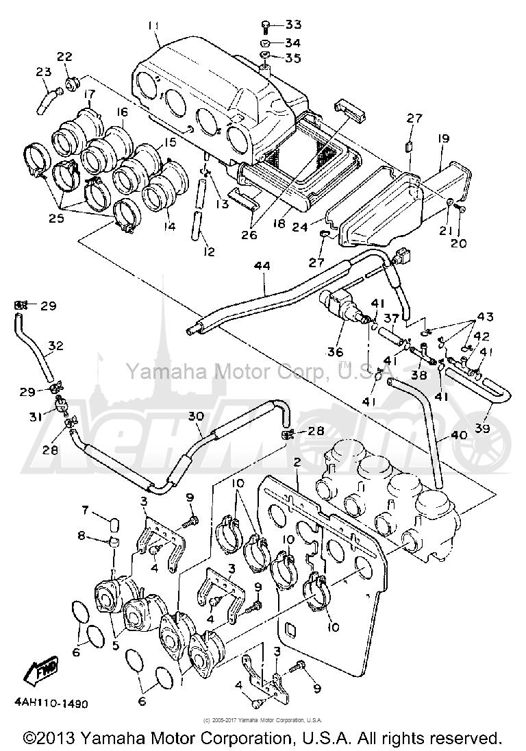 Запчасти для Мотоцикла Yamaha 1991 FJ1200B Раздел: AIR FILTER CALIFORNIA MODEL ONLY   воздушный фильтр калифорния модель только