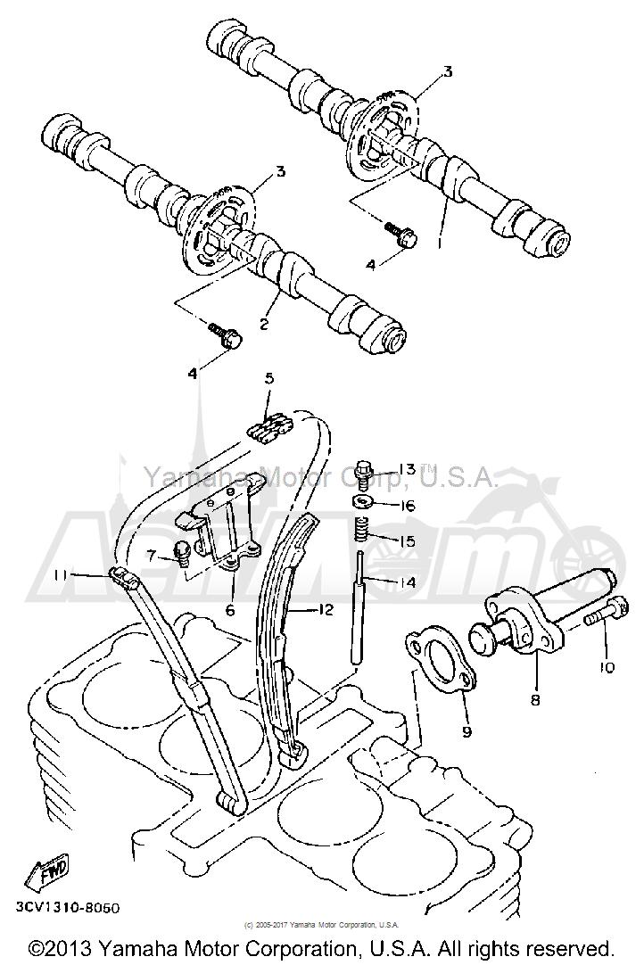 Запчасти для Мотоцикла Yamaha 1991 FJ1200B Раздел: CAMSHAFT CHAIN | распредвал цепь