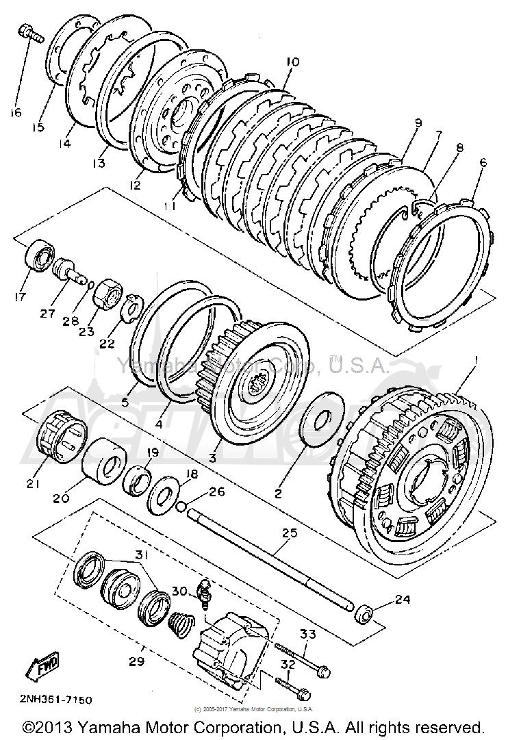 Запчасти для Мотоцикла Yamaha 1991 FJ1200B Раздел: CLUTCH   сцепление