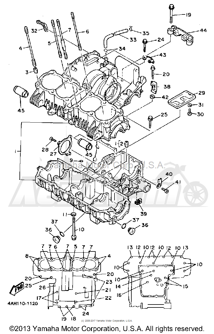 Запчасти для Мотоцикла Yamaha 1991 FJ1200B Раздел: CRANKCASE   картер