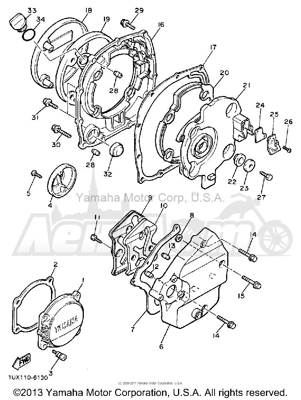 Запчасти для Мотоцикла Yamaha 1991 FJ1200B Раздел: CRANKCASE COVER 1 | крышка картера 1